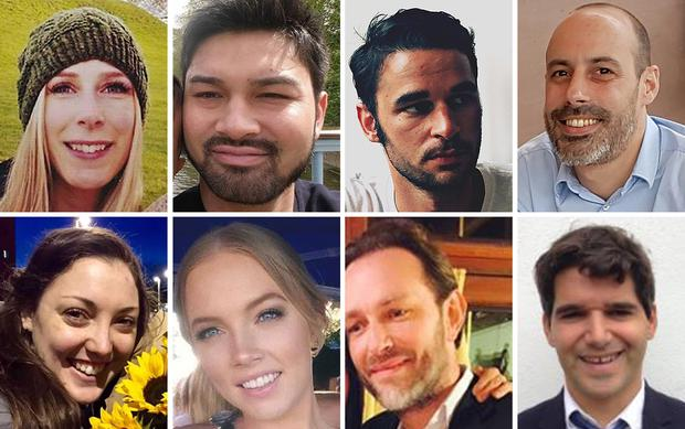 (top row left to right) Christine Archibald, James McMullan, Alexandre Pigeard, Sebastien Belanger, (bottom row left to right) Kirsty Boden, Sara Zelenak, Xavier Thomas and Ignacio Echeverria (Metropolitan Police/PA)