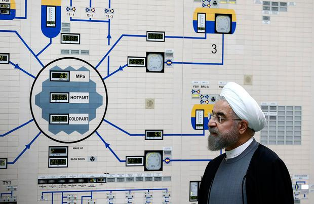 Resuming uranium enrichment: Iranian President Hassan Rouhani visiting a nuclear power plant in the Gulf port city of Bushehr. Photo: AFP/Getty Images