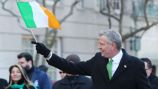 Mayor of New York Bill de Blasio takes part in the St Patrick's Day parade in New York (Niall Carson/PA)