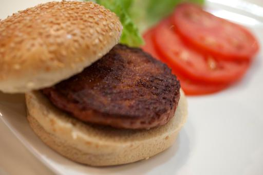 A lab-grown meat burger made from cultured beef. Photo: David Parry/PA