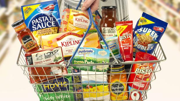 Undated handout photo issued by Premier Foods of their branded products in a supermarket basket as chairman Keith Hamill announces plans to step down.