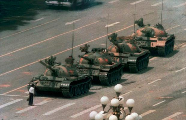 ICONIC: A man walked from the crowd and blocked the Chinese government tanks in Tiananmen Square in 1989