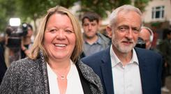Remainer: Lisa Forbes and Labour leader Jeremy Corbyn celebrate Labour's win. Photo: PA