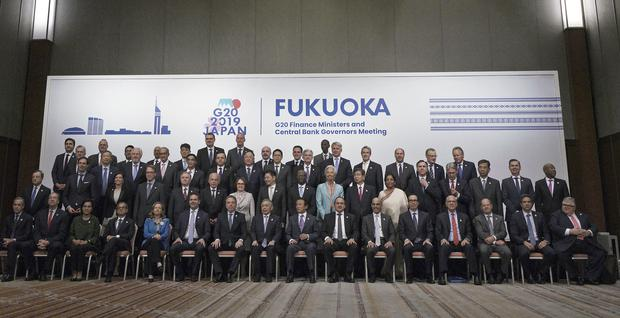 Ministers and bank chiefs at the G20 meeting in Fukuoka, western Japan (Eugene Hoshiko/AP)