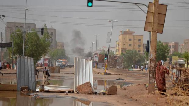 Barricades laid by protesters to block a street in the Sudanese capital Khartoum (Mohammed Najib/AP)