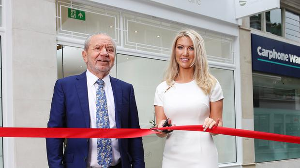 Lord Sugar and Dr. Leah Totton have said delays to Crossrail are hampering expansion of her cosmetic clinics business (Dr Leah Clinics/PA)
