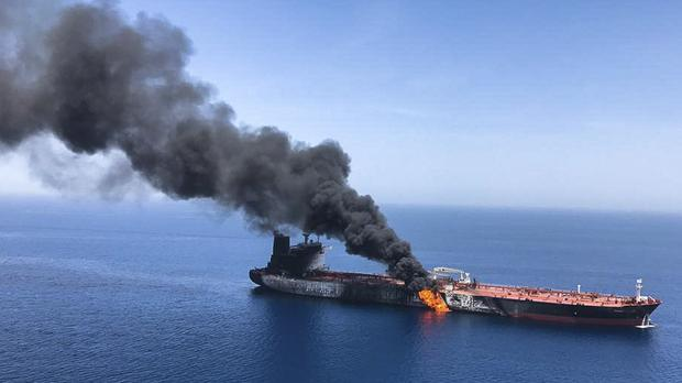 An oil tanker on fire in the sea of Oman (AP Photo/ISNA)