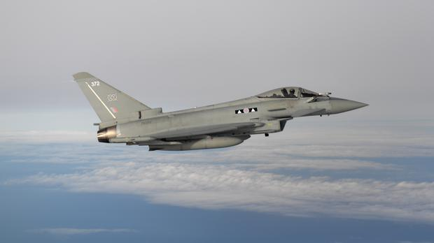An RAF Typhoon (Joe Giddens/PA)