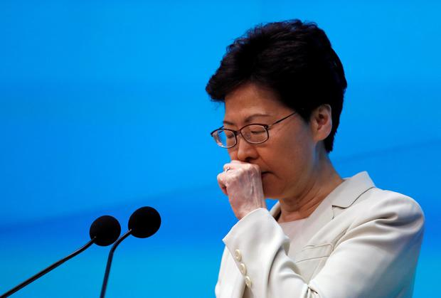 Hong Kong chief executive Carrie Lam at a news conference yesterday. Photo: Reuters