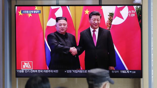 Mr Xi's meeting with Mr Kim will be their fifth summit since the North Korean entered nuclear diplomacy with the US and South Korea early last year (AP Photo/Lee Jin-man)