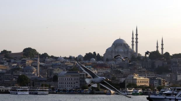 Backdropped by Suleymaniye Mosque, seagulls fly over the Golden Horn in Istanbul (Burhan Ozbilici/AP)