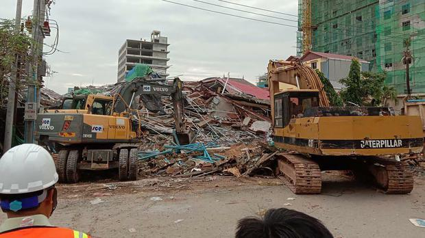The site of the building collapse in Preah Sihanouk province, Cambodia (Cambodia National Police via AP)