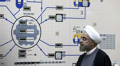 Hassan Rouhani at the Bushehr nuclear power plant (Iranian Presidency Office/Mohammad Berno/AP)
