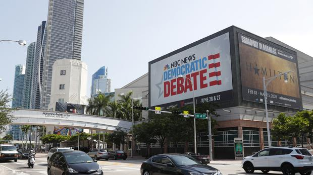 A poster advertising the Democratic Presidential Debates in Miami (Wilfredo Lee/AP)