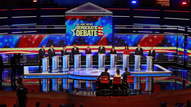Presidential candidates in a Democratic primary debate in Miami (Wilfredo Lee/AP)