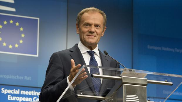 Donald Tusk speaks during a media conference (Virginia Mayo/AP)