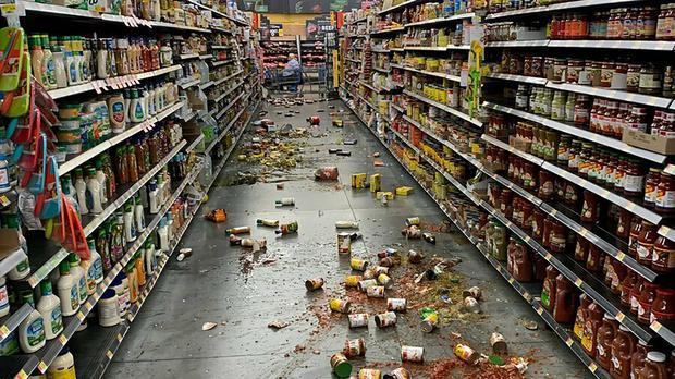 Jars and tins were shaken from the shelves during the latest quake in LA (Chad Mayes/AP)