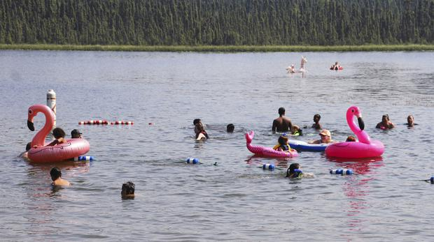 People swim in Goose Lake, Anchorage, amid high temperatures (Mark Thiessen/AP)