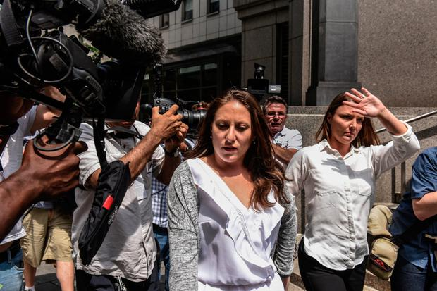 Hearing: Two of Jeffrey Epstein's alleged victims, Michelle Licata (left) and Courtney Wild, leave the courthouse in New York. Photo: Getty