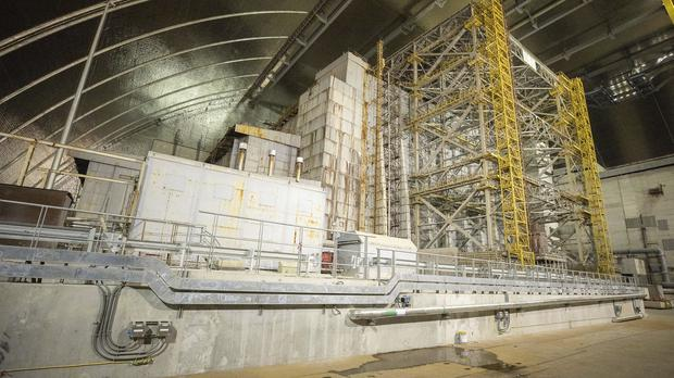 """A view inside the """"new safe confinement"""" shelter (Ukrainian Presidential Press Office/AP)"""