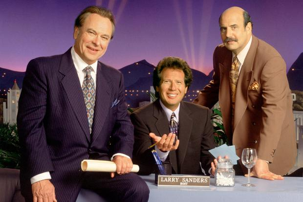 Gold: From left, Rip Torn as Artie, Garry Shandling as the host on The Larry Sanders Show, and Jeffrey Tambor as Hank