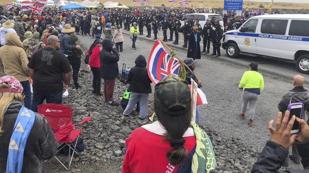 Around 2,000 people gathered to protest against the construction of a telescope on a mountain that some Native Hawaiians consider sacred (Cindy Ellen Russell/Honolulu Star-Advertiser via AP)