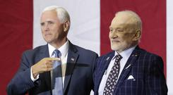 Mike Pence, left, with Buzz Aldrin (John Raoux/AP)