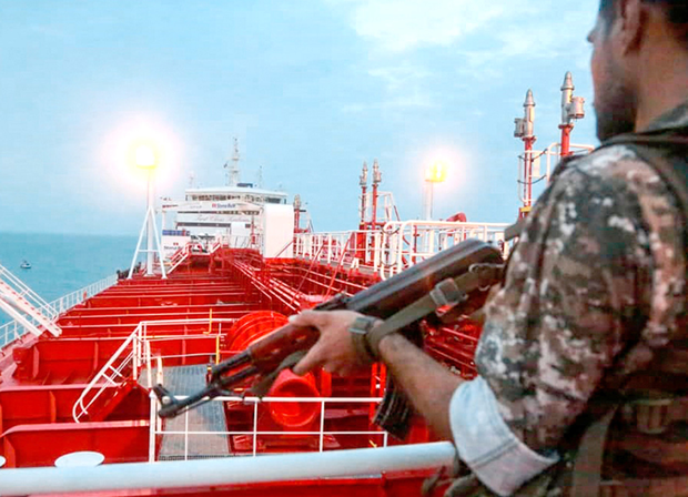 A screen grab shows a member of the Iranian Revolutionary Guard onboard a tanker Stena Impero. Photo: AFP/Getty Images
