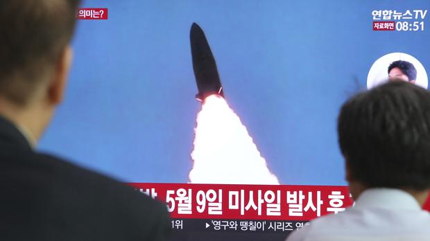 North Korea fired a new type of short-range ballistic missile in two launches into the sea (Ahn Young-joon/AP)