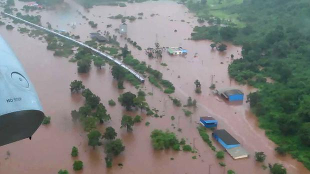 The Mahalaxmi Express train marooned in floodwaters (Indian Navy via AP/PA)