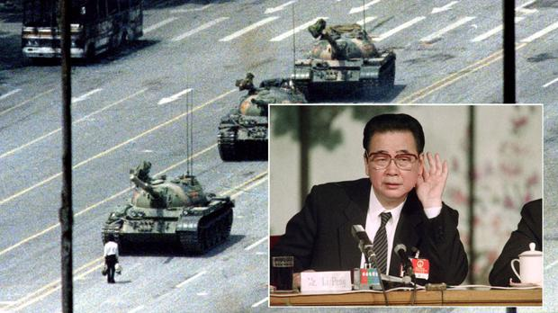 Blood on the streets: Main photo: 'Tank Man' in Beijing's Tiananmen Square, 1989. Inset, Li Peng.