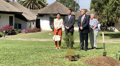 Jeremy Hunt, then UK foreign secretary, and his wife Lucia with the British Ambassador to Ethiopia Dr Alistair McPhail during a tree-planting ceremony in May. Photo: Harriet Line/PA