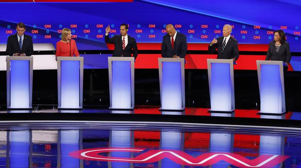 Michael Bennet, Kirsten Gillibrand, Julian Castro, Cory Booker, Joe Biden and Kamala Harris participate in the second of two Democratic presidential primary debates hosted by CNN (Paul Sancya/AP)