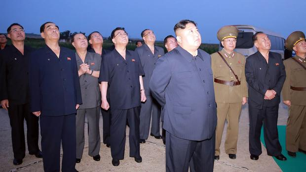 North Korean leader Kim Jong Un visits an airfield in the western area of North Korea to watch its weapons demonstrations (Korean Central News Agency/Korea News Service via AP)
