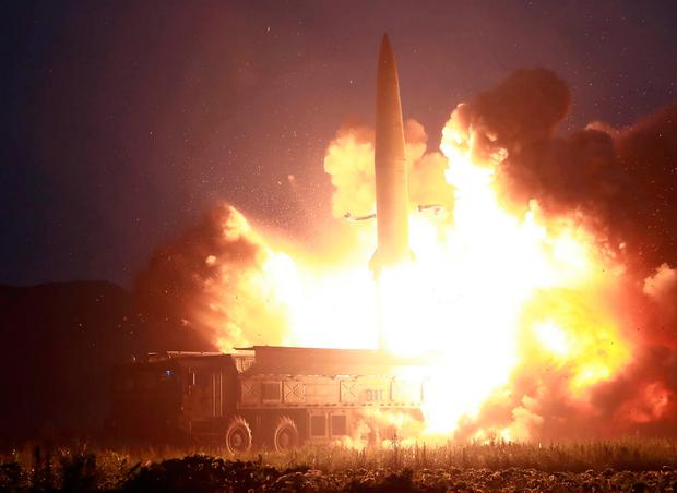 Target: A photo released by the official Korean Central News Agency shows a tactical guided missile launching at an undisclosed location in North Korea. Photo: KCNA via KNS/AFP