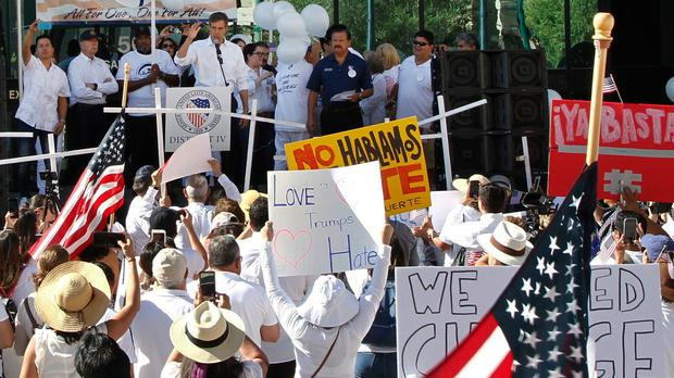 The League of United Latin American Citizens 'March For a United America' took place in El Paso, Texas (Cedar Attanasio/AP)