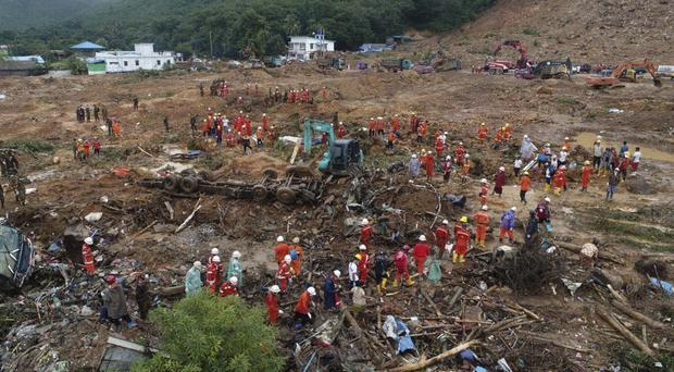 Rescuers join the recovery effort in Paung township, Mon State, Burma (Myanmar Fire Service Department via AP)