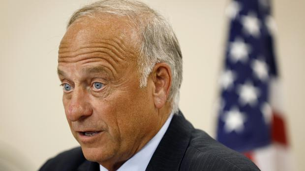 Steve King speaks during a town hall meeting (Charlie Neibergall/AP)