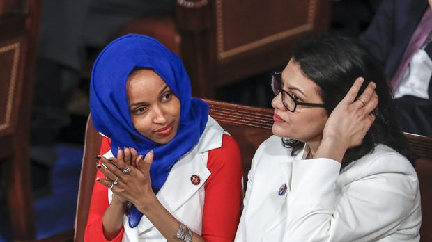 Ilhan Omar, left, and Rashida Tlaib have been banned from entering Israel for an upcoming visit (AP)