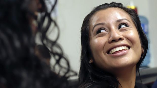 Evelyn Hernandez, 21, smiles in court after being acquitted on charges of aggravated homicide (AP Photo/Salvador Melendez)