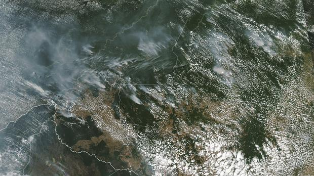 A satellite image shows several fires burning in the Brazilian Amazon forest (Nasa/AP)