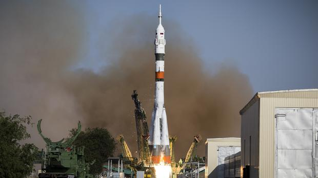 A Soyuz capsule is launched from Russia's space facility in Baikonur, Kazakhstan (Roscosmos Space Agency Press Service photo via AP)