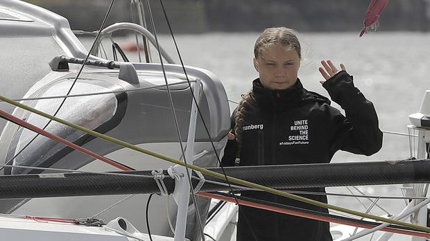 Climate activist Greta Thunberg began her voyage to the US from Plymouth (Kirsty Wigglesworth/PA)