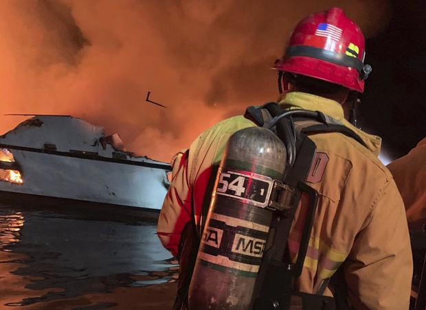 VCFD firefighters respond to the boat fire (Ventura County Fire Department/AP)
