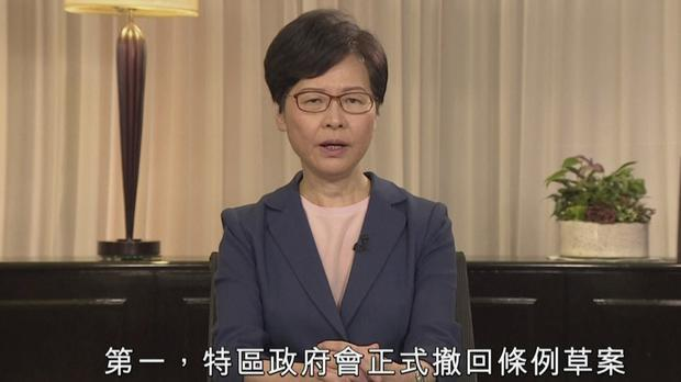 Hong Kong Chief Executive Carrie Lam makes announcement on TV (Hong Kong Government Information Services via AP)