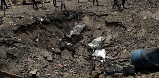 A crater caused by a suicide bomb attack in Kabul, Afghanistan. Photo: AP
