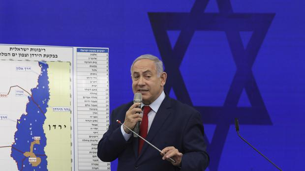 Israeli prime minister Benjamin Netanyahu speaks during a press conference (Oded Balilty/AP)