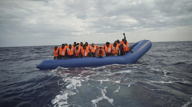 A dinghy 14 nautical miles from the coast of Libya (Renata Brito/AP)
