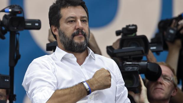 Leader of The League party, Matteo Salvini, speaks at a party's rally in Pontida, northern Italy (Luca Bruno/AP)