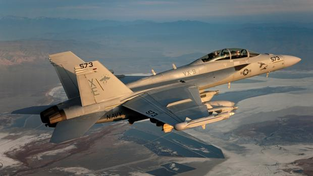 An EA-18G Growler by Boeing. Cobham, which supplies parts, is to be bought by Advent International for £4 billion (Boeing/PA)
